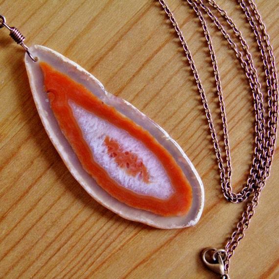 sale druzy agate slice pendant necklace brown orange by jarka