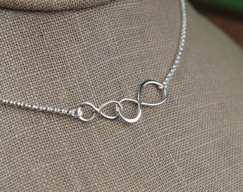 Linked infinity symbols necklace in sterling silver, infinity necklace, sterling silver infinity, eternity necklace, infinite, friendship
