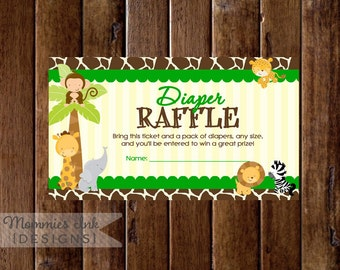 Safari Theme Diaper Raffle Ticket, Jungle Animals Diaper Raffle, Printable Raffle Ticket, Baby Shower Raffle Ticket, DIY, Safari Raffle
