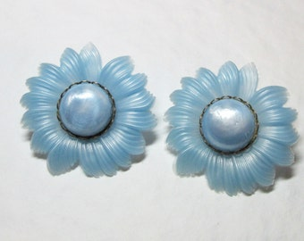 Vintage Powder Blue Flower Clip Earrings
