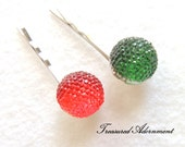 Pave Style Acrylic Rhinestone Ball Bobby Pins, Red and Green, set of 2, Children Hair Accessory, St. Christmas Hair pins, Stocking Stuffer