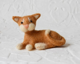 Rigby the Orange Cat, needle felted animal, art fiber sculpture