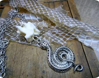 WADJET. Diety of Asps I Genuine snake bone necklace. Silver Metal Snake. Taxidermy Urban Grunge handmade Unisex necklace