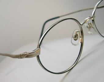 Vintage 70s Green Oval Eyeglasses Eyewear Frames NOS