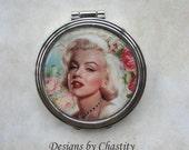 Marilyn Monroe Pocket Mirror Altered Art Rose