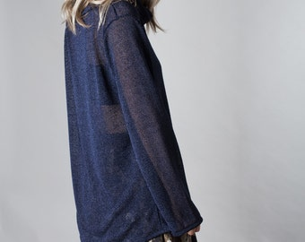 Dark blue glossy light knitted sweater , XL collar, loose fit