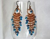 European 4-1 Copper Chain Maille Earrings Accented with Blue Glass Seed Beads