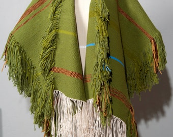 Vintage 1970s Chartreuse Green Hand Woven Ruana Open Front Poncho Amber Brown Tight Weave Surfer Festival BOHO  Bohemian Fringe Wrap