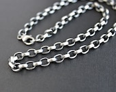 Mens Oval Chain Necklace, Mens Heavy Silver Chain, Mens Silver Necklace
