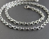 Mens Bevel Chain Necklace, Mens Sterling Silver Necklace