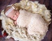 CURLY Creams Angel Hair Basket Fluff Filler Natural Undyed Newborn Photography Prop Mat Blanket Unisex baby boy girl