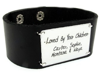 Personalized Leather Cuff Bracelet for Men / Custom Mens Wide Band with Quote / Mens Wristband - Fathers Bracelet - Fathers day Gifts