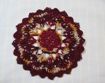 Burgundy Doily-6 inch Doily-Variegated Doily-Gold and Ecru Doily-Egyptian Cotton Hand Crocheted Doily-Cindy's Loft