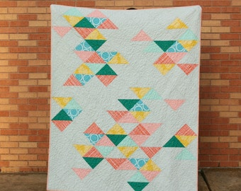 SALE! Archaeology Quilt - Modern Throw Quilt