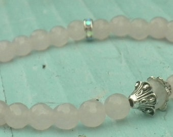 Rose Quartz and Moonstone Healing Bracelet; Love, Energy, Yoga, Meditation, Mala, Protection