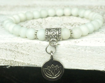 Frosted Amazonite Lotus Bracelet; Yoga, Healing, Energy, Communication, Meditation, Protection, Mala