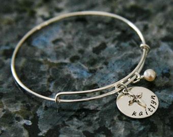 personalized child bangle bracelet with cross