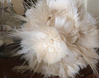 Bridal Feather Brooch modern wedding bouquet - bleached peacock feathers with Ivory/Champagne feathers and diamante crystal centres