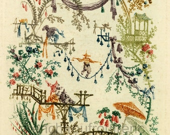 antique french chinoiserie wallpaper illustration acrobats parasol digital download