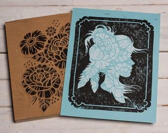 Matoaka Silhouette - Block Print