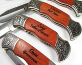 Set of 8 Personalized Engraved Rosewood Handle Pocket Hunting Knife Knives Groomsman Best Man Gift 2 Lines