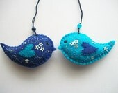 Felt Ornaments Blue and Teal Bird Decoration Wall Hanging or Tree Hanging Hand Embroidered Handsewn 2 pieces