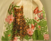 Vintage Linen Tea Towel With Hanging Tab And Vintage Button Cat And Butterfly Print With Pink And Orange Flowers