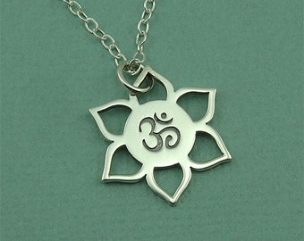 Zen Jewelry - Om Necklace - Sterling Silver Om Jewelry, Yoga Necklace, Ohm Necklace, Yoga Teacher Gift, Yoga Gifts