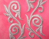 """GB120 Embroidered Applique MIRROR PAIR Silver Scroll Metallic Iron On Patch 5.25""""  (GB120X-sl)"""