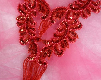 "0510 Red Bodice Yoke Sequin Beaded Applique 10""  (0510-rd)"