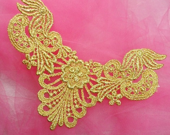 "F22 Gold Yoke Collar Venise Lace Applique 6"" (F22-gl)"