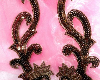 "XR107 Appliques Bronze Brown Mirror Pair Beaded Sequin Patch Motif 7.75"" (XR107X-bz)"