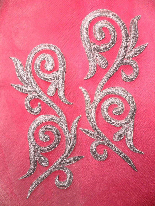Gb120 embroidered applique mirror pair silver scroll metallic for Applique miroir