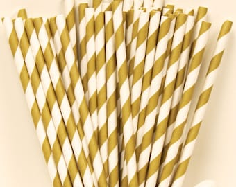 Paper Straws, 100 Gold Striped Paper Straws, Gold Wedding Straws, Gold Drink Straws, Pink and Gold Party, Vintage Weddings, Gold  Parties