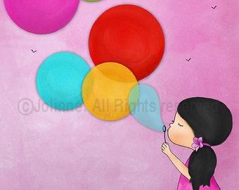 Girls Nursery Art, Kids Wall Art, Balloons Art Decor, Children Decor, Children's Wall Art, art for pink girls room, girls art in pink,prints