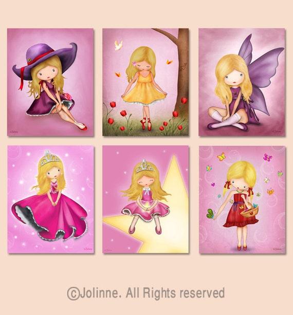 Childrens room art, kids room decor, baby nursery art, kids posters, set of 6 art prints