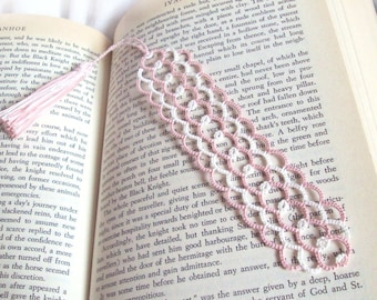Lace Tatted Bookmark , Pink , Ivory - Lexia