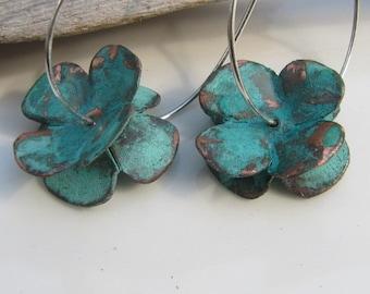 Copper Earrings Handmade Dogwood Flower Jewelry