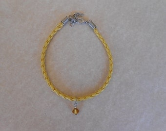 Yellow Crystal Yellow Braided Leather Bracelet