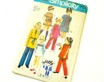 Vintage 1970s Girls Size 7 Mod Mini-Dress and Pants Simplicity Sewing Pattern 9093 / Factory Folds