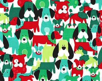 Dog Dang It Fabric by Michael Miller Dog Dogs Puppy Puppies Red Green Mint on Holly Berry