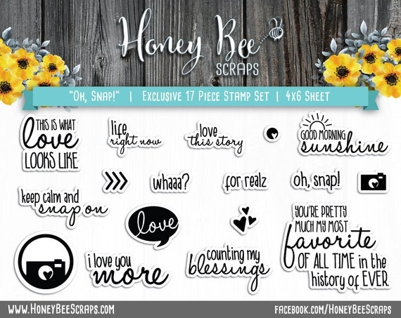 Oh, Snap! Honey Bee Scraps - High Quality, Adorable Clear Stamps - MADE IN USA - for Scrapbooking, Cardmaking, Paper Crafting and More!