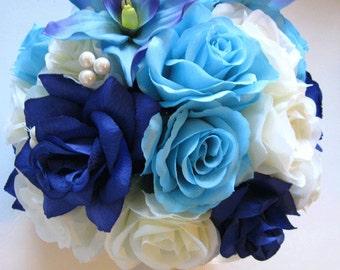 "Reserved listing Wedding Silk flower Bouquet Bridal ROYAL Cream AQUA Blue ORCHID 2 piece package Flowers centerpiece ""RosesandDreams"""