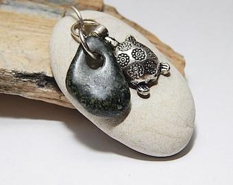 Handcrafted Beach Stone Turtle Pendant, Large white stone, Rock, Pebble