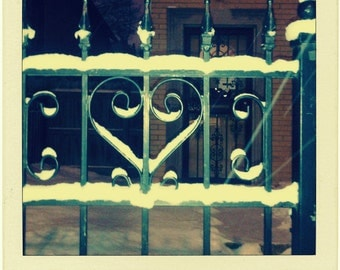 heart photo, Chicago Photo, snow, winter, gate, ironwork, scrollwork, patina, Chicago Photography, Chicago Art, architecture, polaroid style