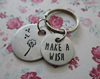 make a wish - hand stamped dandelion and fluff inspirational keychain