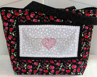 ON SALE Rhinestone Winged Heart Large Tote Bag Hearts and Roses Purse  Ready to Ship