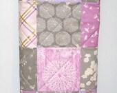Modern Woodland Baby Girl Quilt-Brambleberry Deer-Lavender Lilac Purple Gray Grey-Michael Miller Gold Shimmer Baby Blanket