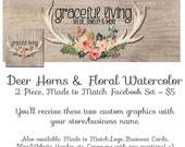 Facebook Timeline Cover Set - Deer Horns & Floral - Matching Etsy Banner Set and Business Card Available too Anterls Watercolor Rustic