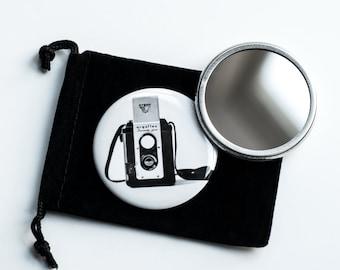 "The Argoflex - Vintage Camera Photograph- Pocket Mirror - 2.25"" with Velvet Pouch"